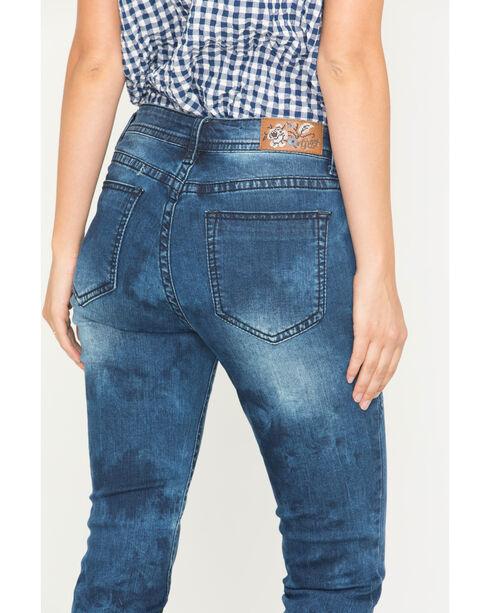 Grace in LA Women's Indigo Embroidered Step Jeans - Skinny , Indigo, hi-res