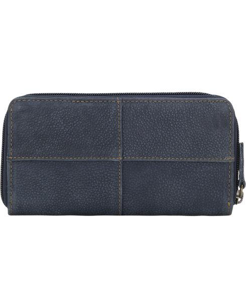 TrueLu Women's Blue Riley Zip Around Wallet , Blue, hi-res