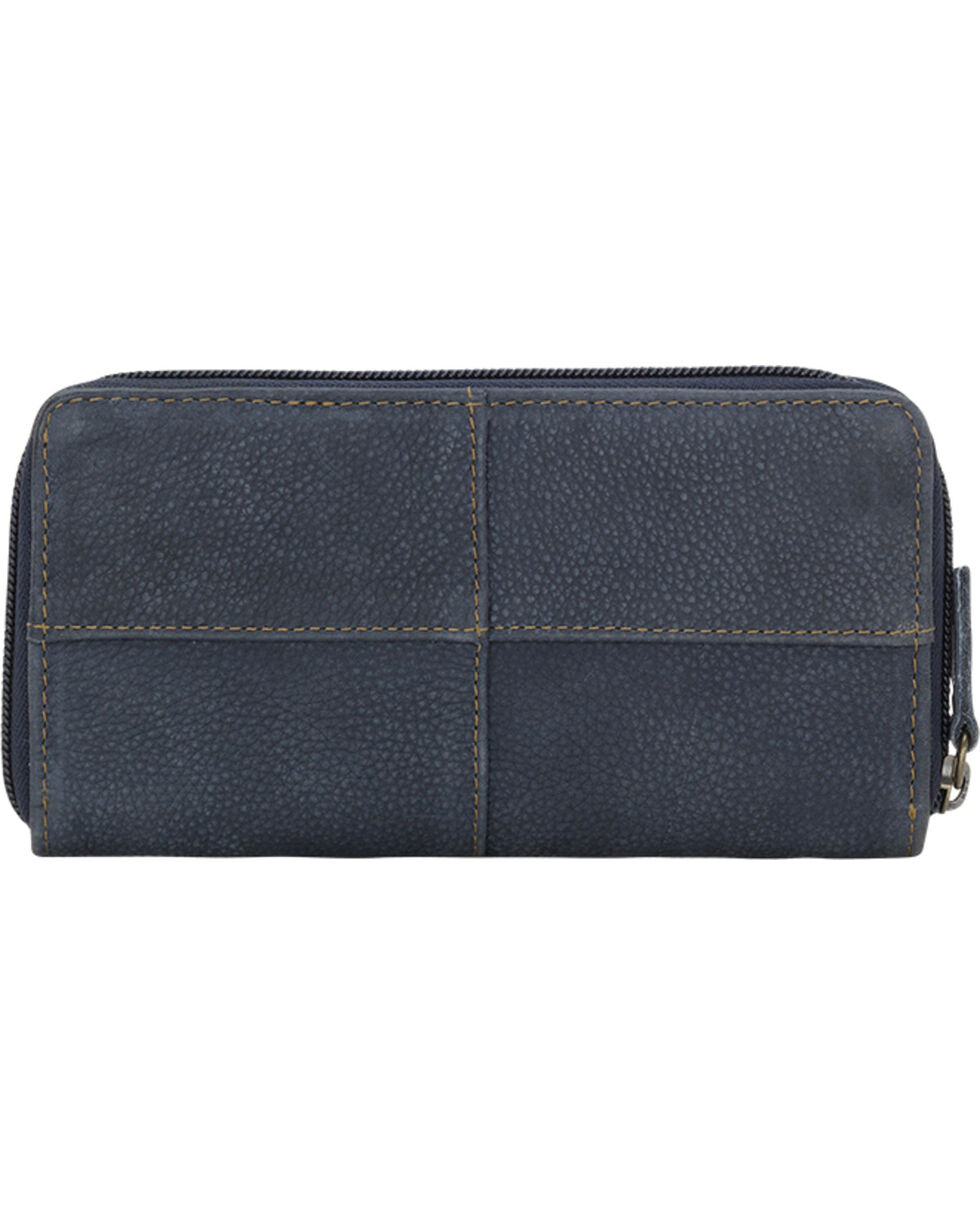TrueLu Women's Blue Riley Zip Around Wallet , Blue, hi-res
