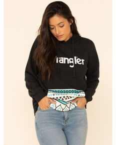 Wrangler Women's Black Serape Trimmed Logo Graphic Hooded Sweatshirt , Black, hi-res