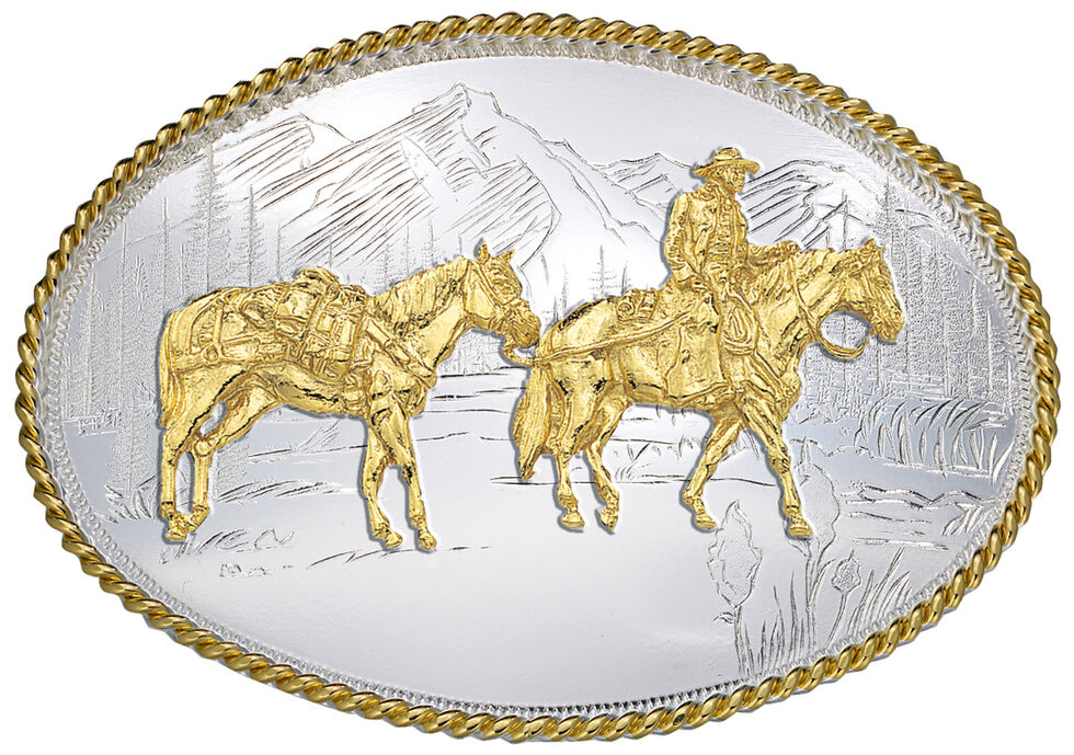 Montana Silversmiths Etched Mountains Pack Horse & Rider Western Belt Buckle, Multi, hi-res