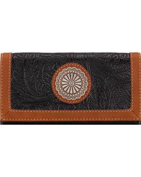 Bandana by American West Dallas Black Flap Wallet, Black, hi-res