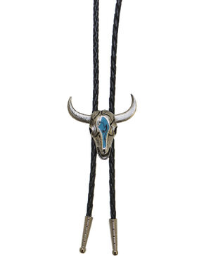 Western Express Steer Head Turquoise Enamel Bolo Tie, Silver, hi-res