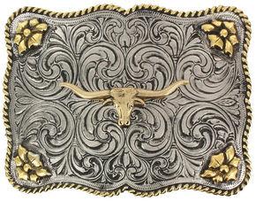 Cody James Men's Interchangeable Longhorn Belt Buckle, Silver, hi-res