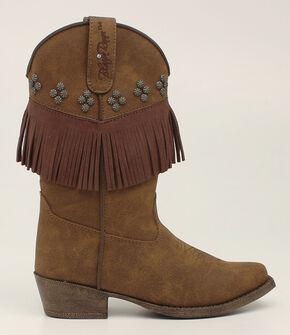 Blazin Roxx Girls' Annabelle Fringe Cowgirl Boots - Snip Toe, Brown, hi-res