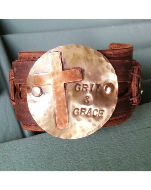 Jewelry Junkie Grit & Grace Distressed Leather Cuff Bracelet, Multi, hi-res