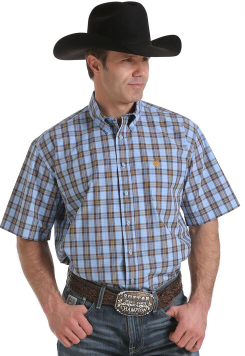Cinch Men's Light Blue Plaid Western Shirt, Light Blue, hi-res