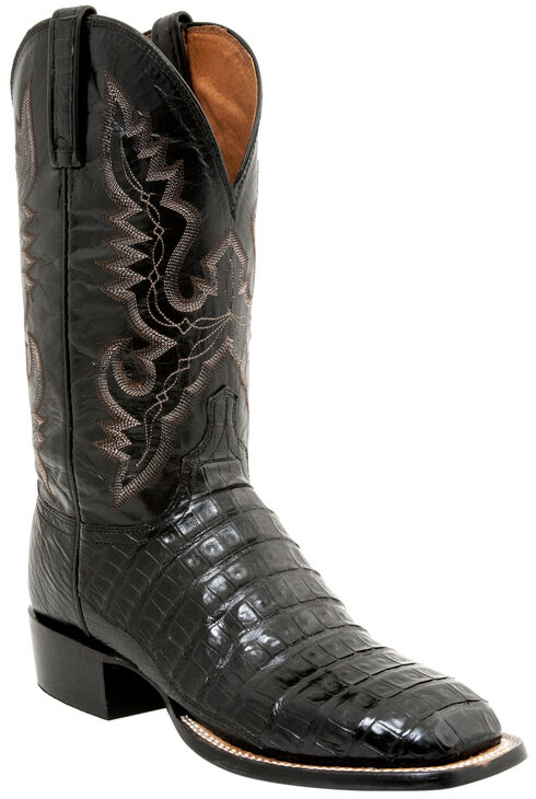 Lucchese Men's Handmade Caiman Tail Roper Boots - Square Toe, Black, hi-res