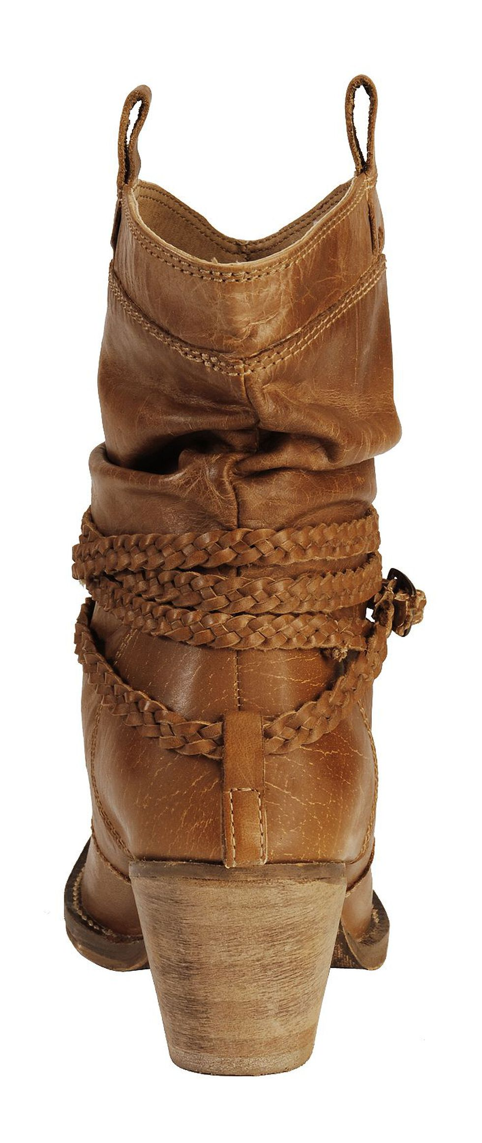 Dingo Twisted Sister Braided Strap Booties - Round Toe, Tan, hi-res