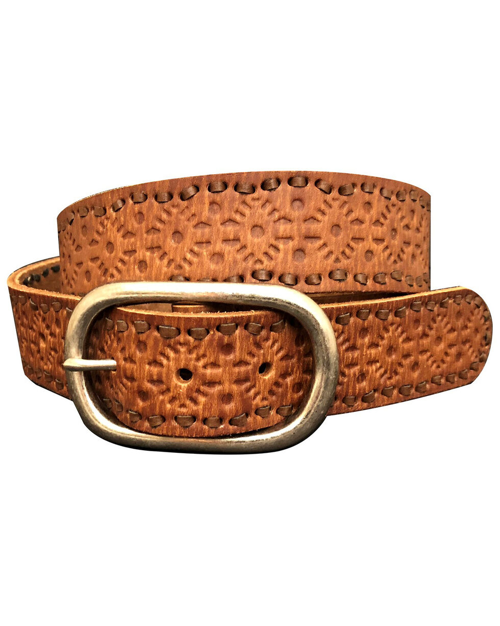 Roper Women's Embossed Pattern Laced Edge Distressed Leather Belt, Brown, hi-res