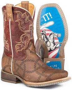 Tin Haul Girls' Twisted Rope Western Boots - Square Toe, Tan, hi-res