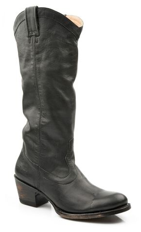 Stetson Hand Burnished Faccini Riding Boots - Round Toe, Black, hi-res
