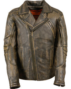 Milwaukee Leather Men's Triple Stitch Extra Long Biker Jacket - 5X , Black/tan, hi-res