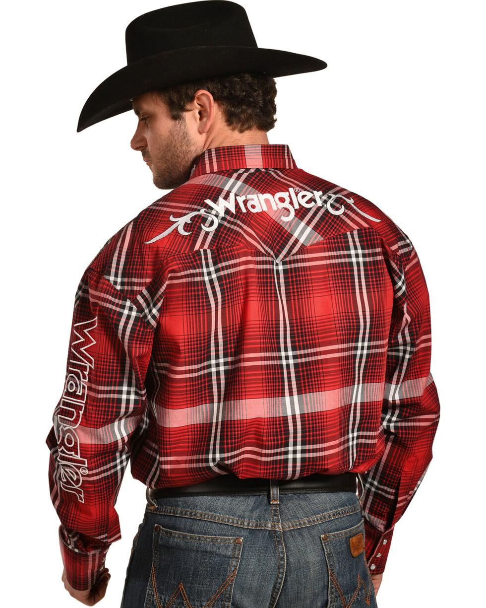 Wrangler Men's Red Logo Long Sleeve Snap Shirt, , hi-res
