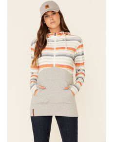 Ampersand Avenue Women's Oceanside Stripe 1/2 Hooded Pullover , Heather Grey, hi-res