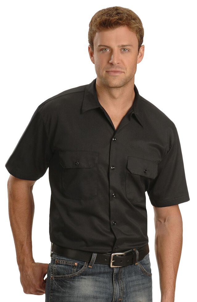 Dickies Short Sleeve Twill Work Shirt - Big & Tall-Folded, Black, hi-res