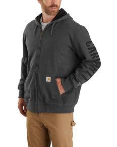 Carhartt Men's Charcoal Original Fit Lined Graphic Zip Front Work Sweatshirt , Heather Grey, hi-res