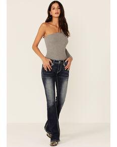 Grace In LA Women's Dark Wash Sequin Bootcut Jeans, Blue, hi-res