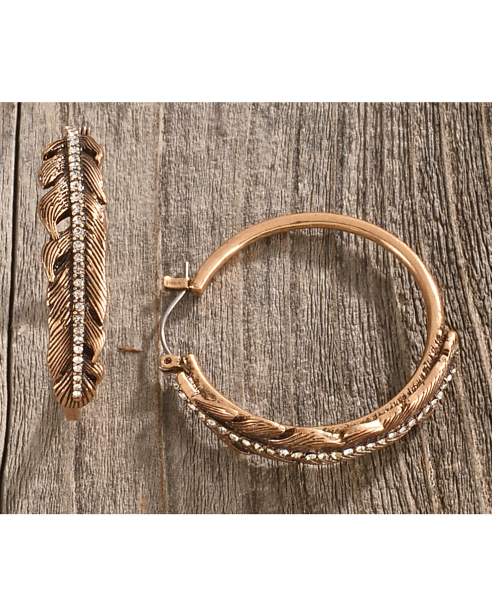 Silver Jeans Women's Crystal Glass Feather Frontal Hoop, Gold, hi-res