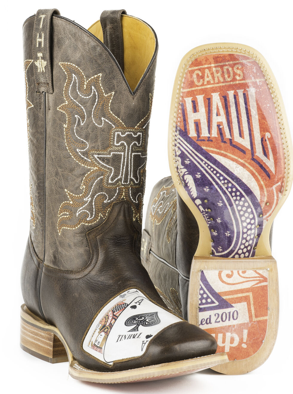 Tin Haul Men's Black Jack Cowboy Boots - Square Toe, Brown, hi-res
