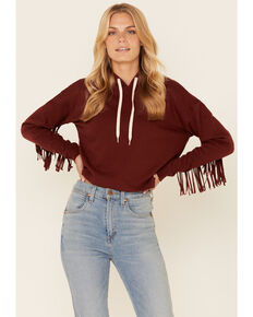 Shyanne Life Women's Solid Chocolate Fringe Sleeve Pullover Hoodie , Chocolate, hi-res