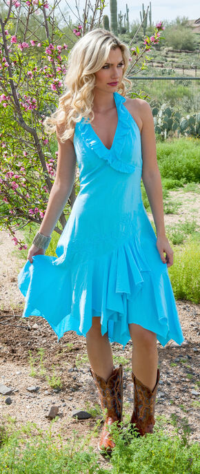 Scully Peruvian Cotton Halter Dress, Turquoise, hi-res