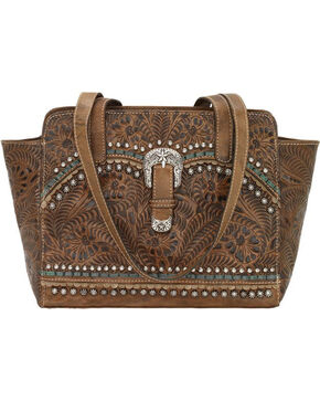 American West Women's Brown Conceal Carry Ridge Purse , Distressed Brown, hi-res