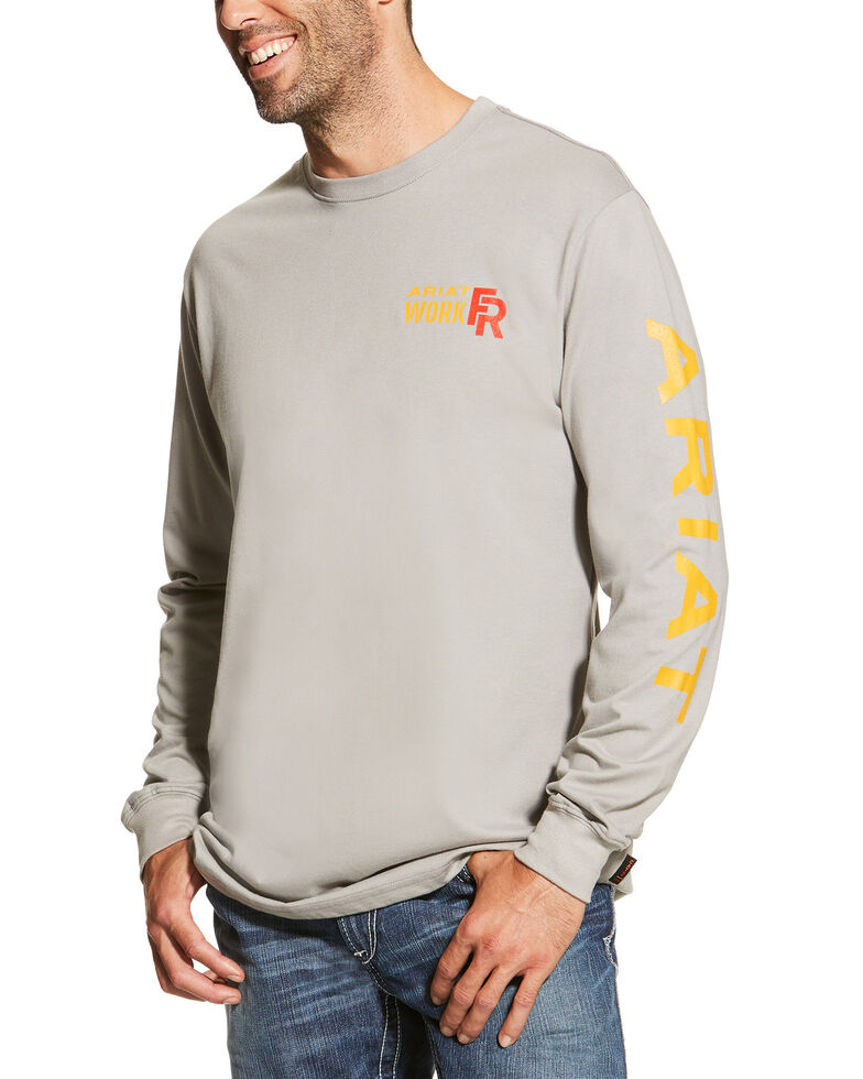 Ariat Men's Grey FR Logo Crew Neck Long Sleeve Shirt - Tall, Grey, hi-res