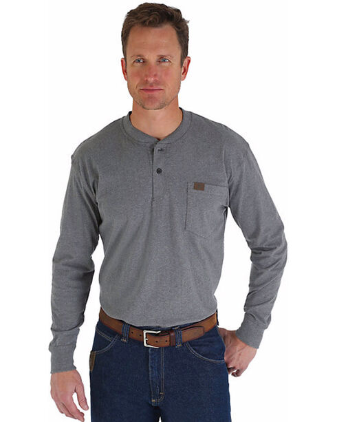 Wrangler Men's Riggs Workwear Grey Long Sleeve Henley Shirt - Big, Charcoal, hi-res