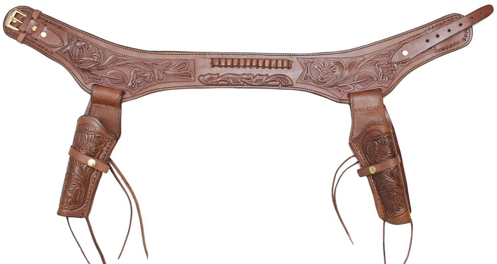 Western Express .38 Caliber Hand Tooled Leather Double-Gun Belt & Holster, Chocolate, hi-res