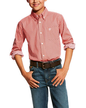 Ariat Boys' Dowers Stretch Geo Print Long Sleeve Western Shirt , Pink, hi-res