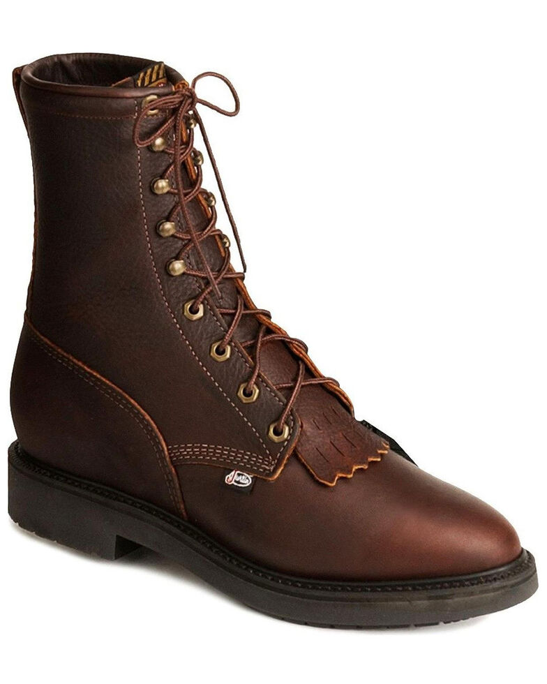 "Justin Men's Conductor 8"" Lace-Up Work Boots - Soft Toe, Rust Copper, hi-res"