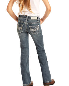 Rock & Roll Denim Girls' Medium Scroll Bootcut Jeans, Blue, hi-res