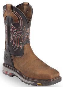 Justin Men's Tanker Black Western Work Boots - Steel Toe, Timber, hi-res