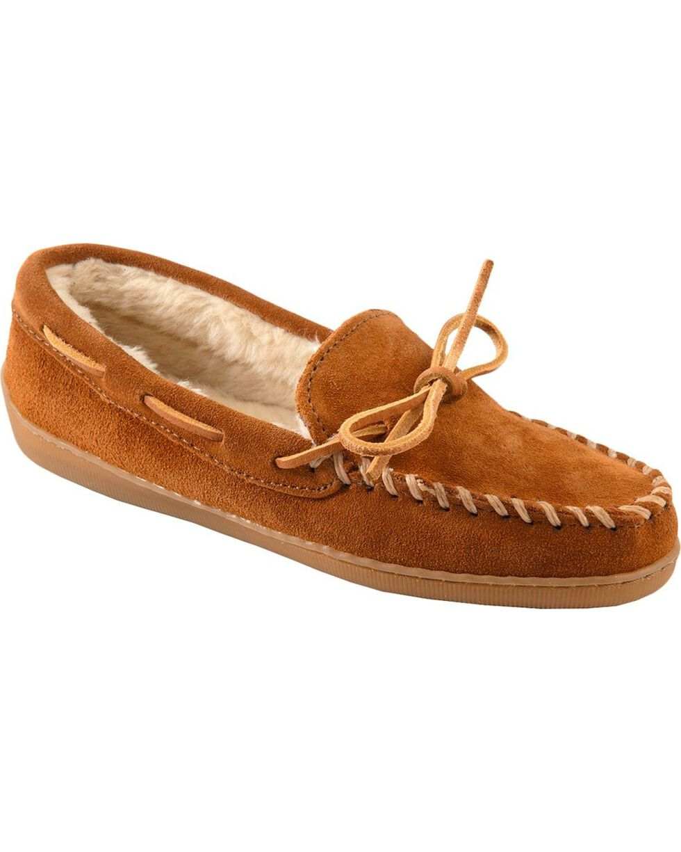 Minnetonka Pile Lined Moccasins, Brown, hi-res