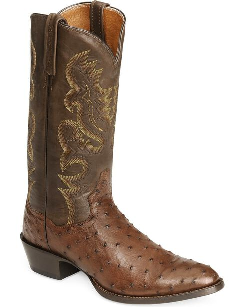Dan Post Full Quill Ostrich Cowboy Certified Boots - Medium Toe, Tobacco, hi-res