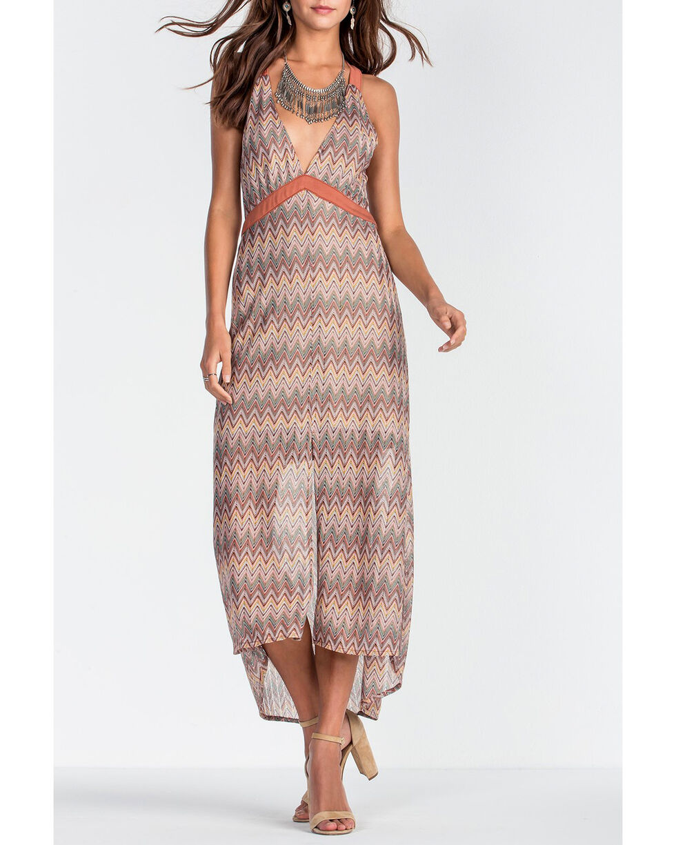 Miss Me Women's Brown Deep V-Neck Print Long Dress , Brown, hi-res