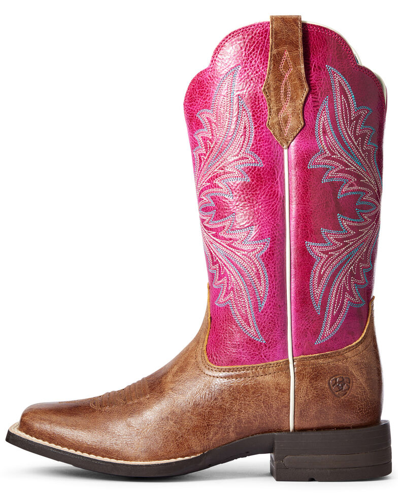 Ariat Women's West Bound Western Boots - Wide Square Toe, Brown, hi-res