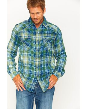 Ryan Michael Men's Sequoia Double Face Plaid Western Shirt , Indigo, hi-res