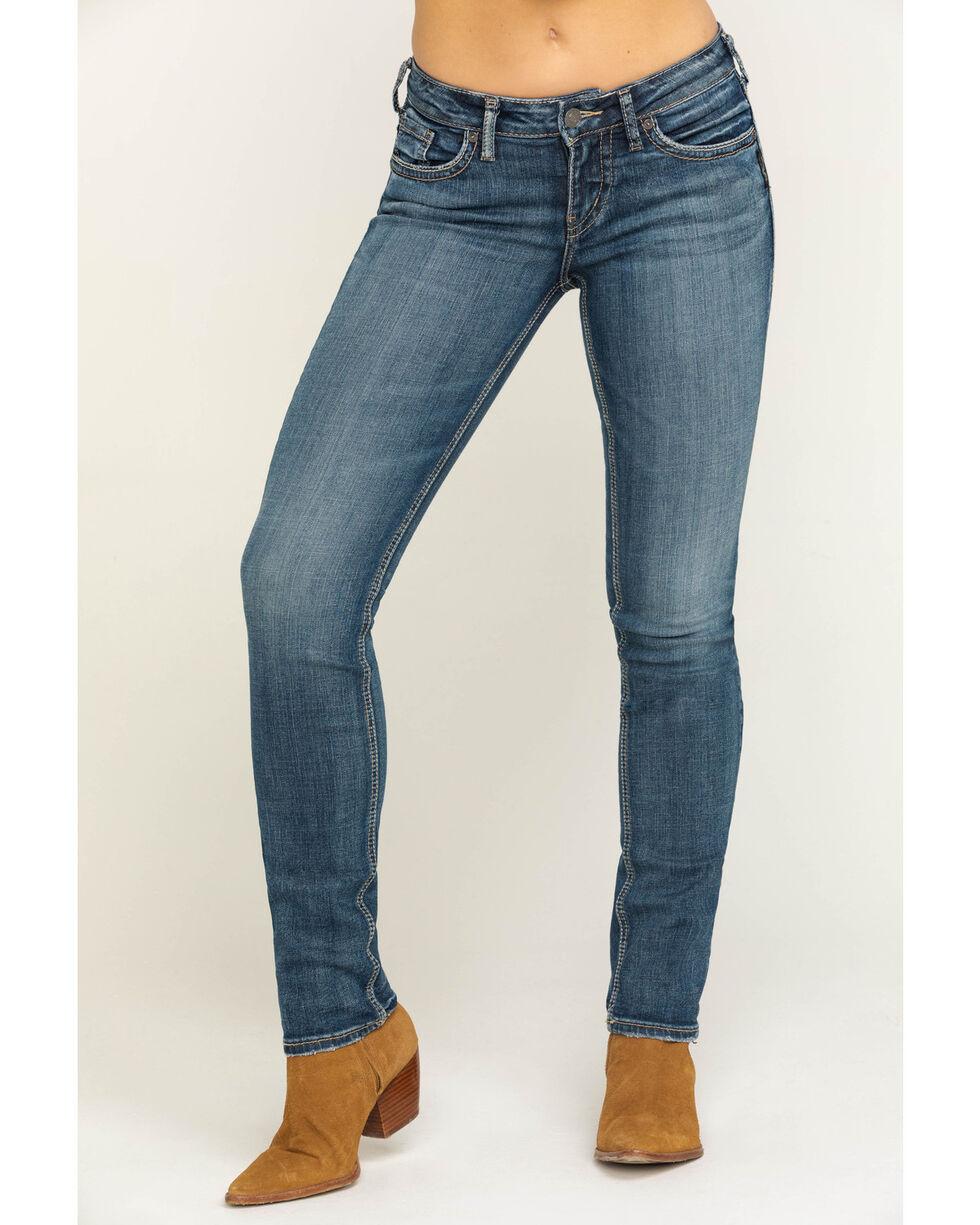 Silver Women's Suki Dark Wash Straight Leg Jeans , Indigo, hi-res