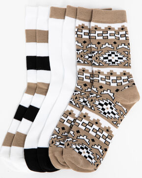 Shyanne Women's Aztec Stripe 3-Pack Crew Socks, Multi, hi-res