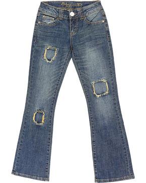 Shyanne® Girls' Patchwork Boot Cut Jeans, Blue, hi-res