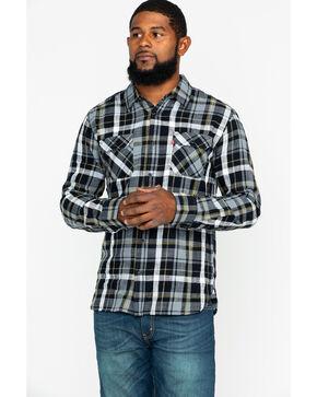 Levi's Men's Black Turin Slub Plaid Long Sleeve Western Flannel Shirt , Black, hi-res