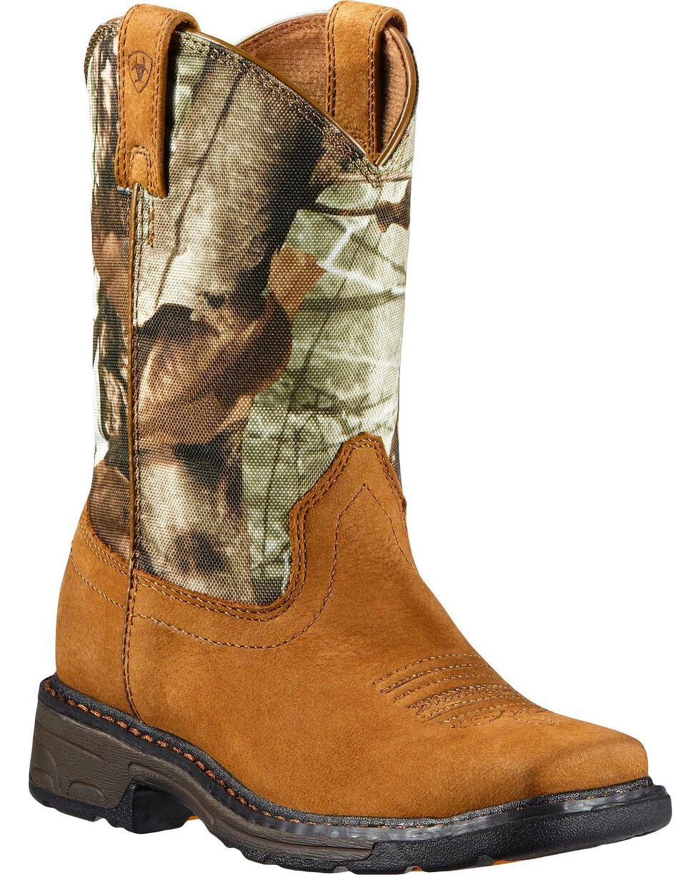 Ariat Children's WorkHog Boots - Square Toe, Bark, hi-res