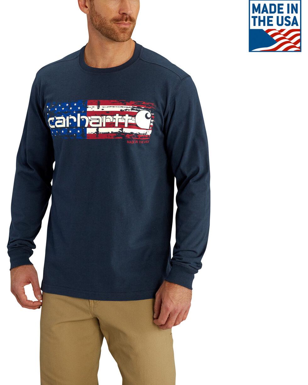 Carhartt Men's Navy Lubbock Graphic Distressed Flag Long Sleeve T-Shirt , Navy, hi-res