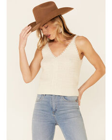Wishlist Women's Cream Sweater-Knit Pointelle Tank Top , Cream, hi-res