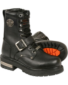 Milwaukee Leather Women's Black Buckled and Lace-to-Toe Boots - Square Toe , Black, hi-res