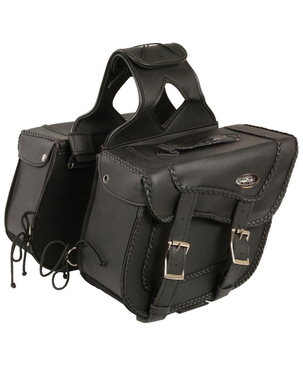 Milwaukee Leather Medium Braided Zip-Off Throw Over Saddle Bag, Black, hi-res