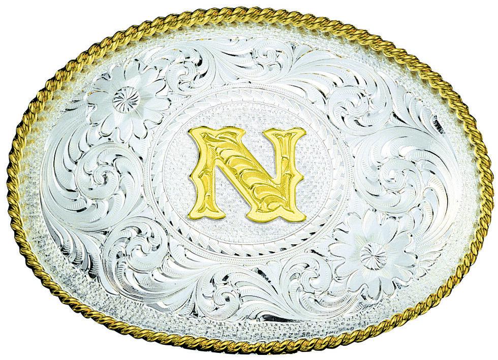 Montana Silversmiths Engraved Initial N Western Belt Buckle, Multi, hi-res