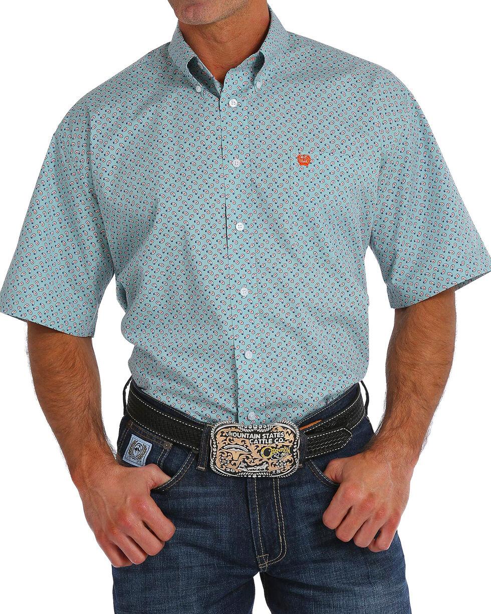 Cinch Men's Paisley Print Short Sleeve Button Down Shirt, Light Blue, hi-res